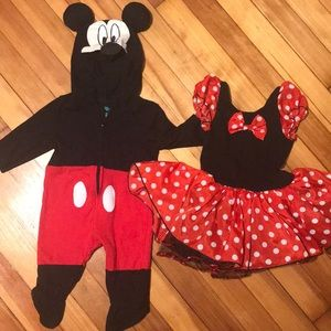 Mikey mouse onesie and Minnie Mouse dress
